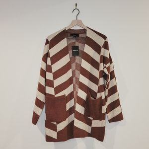 Forever 21 Rust & Taupe Striped Cardigan Size S